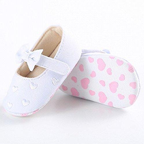Zapatos de bebé,Auxma Zapatos de lona únicos suaves antideslizantes de la zapatilla de deporte de los zapatos de lona del nudo del arco del bebé para 0-18 meses Blanco
