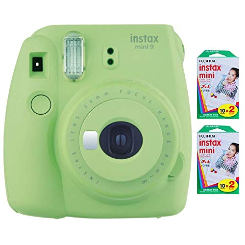 Fujifilm Instax Mini 9 Instant Camera (Lime Green) with 2 x Instant Twin Film Pack (40 Exposures) (Renewed)