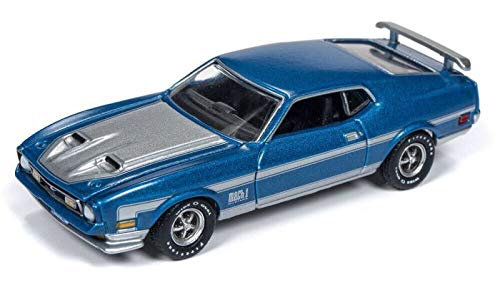 (1972 Ford Mustang Mach 1 Medium Blue Poly with Silver Stripes Vintage Muscle Limited Edition to 3,984 Pieces Worldwide 1/64 Diecast Model Car by Autoworld 64192/ AWSP016 A)