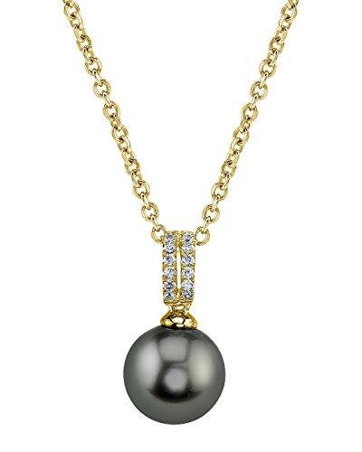 Diamonds 12mm Tahitian Pearl Pendant - 12mm Tahitian South Sea Cultured Pearl Diamond Belinda Pendant Necklace in 14K Gold