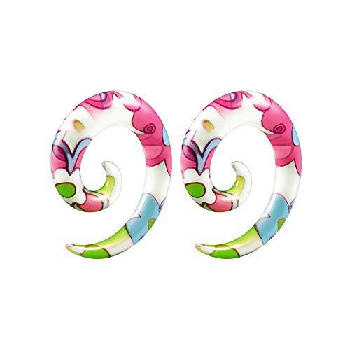 BIG GAUGES Pair of Acrylic 2g Gauge 6mm Flower Spiral Stretching Taper Expander Piercing Stretcher Ear Flesh Tunnels Plugs Lobe BG4949