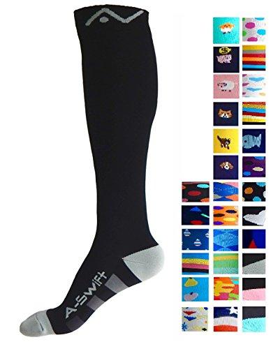 Compression Socks For Women   Men By A Swift   Easywear Series   Best For Running  Athletic Sports  Crossfit  Flight Travel   Suits Nurses  Maternity Pregnancy  Shin Splints  Black   Grey  L Xl