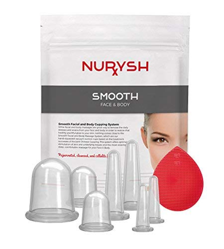(SMOOTH by Nurysh Face & Body Cupping Therapy Set – Deep Tissue Skin Massage Therapy System, 7 Silicone Detox Suction Cups for Cellulite & Wrinkles – Massaging Tools Tone, Tighten, Plump, Firm)