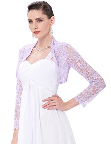 Torera Para Mujer Manga Corta Y Larga Elegible Encajes Florales ES000217 Violeta lavanda 2#