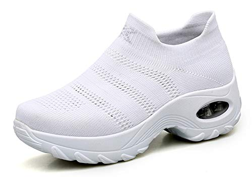 Ezkrwxn All White Shoes for Women 2019 Summer Flyknit mesh Breathable Comfort Sock Sneakers Slip on Platform Wedge Athletic Walking Shoes Size 7 (1875-White-37)