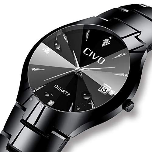 91f48d068dc Mens Black Watches Men Waterproof Unique Design Cool Wrist Watch ...