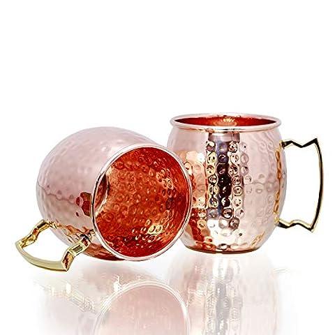 Copper Mugs – Set of 2-100% HANDCRAFTED – Food Safe Pure Copper Mugs – 16 oz Hammered – BONUS Copper Straws & Wooden Coasters – Gift Set