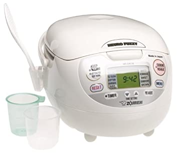Zojirushi NS-ZCC10 5-1 2-Cup Uncooked Neuro Fuzzy Rice Cooker and Warmer, Premium White, 1.0-Liter