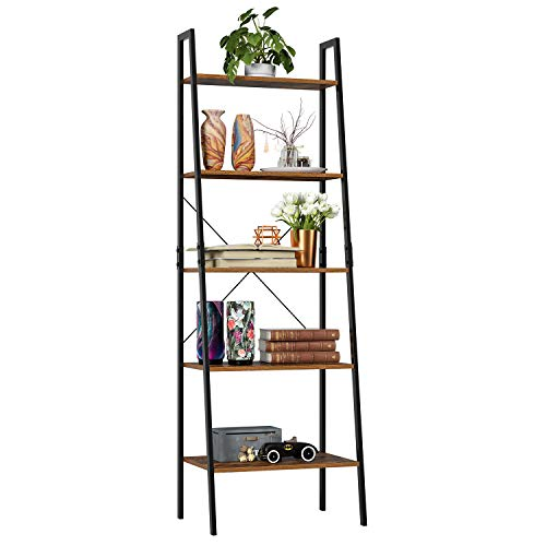 Homfa Industrial Ladder Shelf, 5 Tier Bookshelf Plant Flower Stand Storage Rack Multipurpose Utility Organizer Shelves Wood Look Accent Metal Frame Furniture Home Office ()