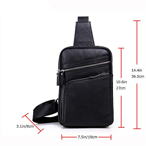 Shining Chest Optional Bag Leather Men's Colors Messenger Casual Kids Two Black Genuine gq4rgBw