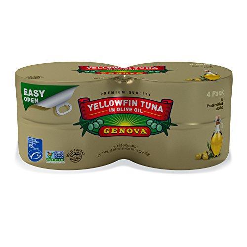Genova YellowfinTuna in Olive Oil, Solid Light Premium, 5 Ounce (Pack of 4) (Tuna Genova)