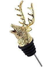Mousyee Nalewki do butelek, nalewacz alkoholowy, nalewacz ze stopu cynku o dużej sile vintage polerowanie jelenia głowa w kształcie głowy odlewane trwałe i niełatwe do deformacji i rdzewieje dla 18 mm - 20 mm (złoty)