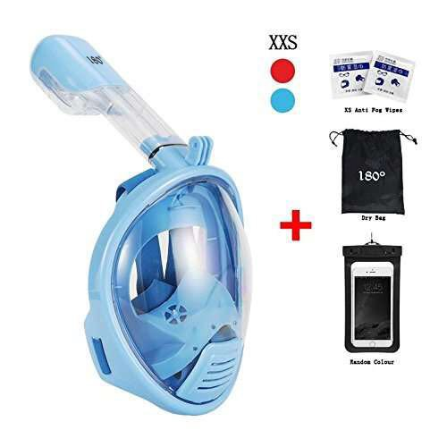 Snorkel Mask 180° View for Adults and Youth. Full Face Free Breathing Design.[Free Bonuses] Cell Phone Universal Waterproof Case (Dry Bag) and Anti-Fog Wipes (KidBlue, Extra Small)