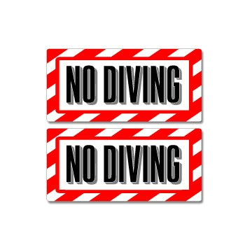 - No Diving Pool Sign - Alert Warning - Set of 2 - Window Business Stickers