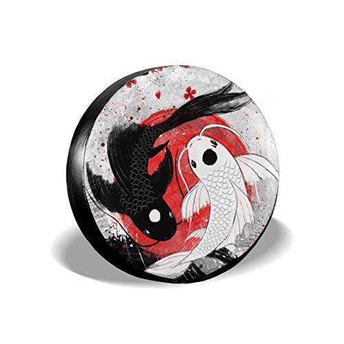 Becmd Koi Fish yin yang Universal Spare Wheel Tire Cover Fit for Truck Camper Van,Jeep,Trailer, RV, SUV Trailer Accessories15(Diameter 27