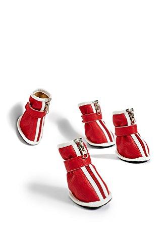 Small to Medium Dog Faux Leather Boots For Beagle French Bulldog Sheltie Corgi (Small Medium Size, Red)