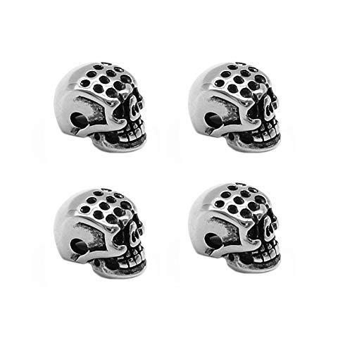 (Mystart 4 Pcs 316 Stainless Steel Punk Skull Head Spacer Beads DIY Accessories for Necklace Bracelet Making)