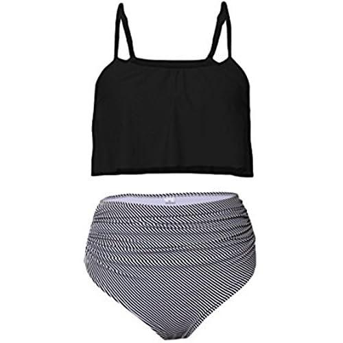 adcecf8b6953e2 Chomoleza Womens Ruffle Two Pieces Swim Suit Fashion High Waist Tankini  Sets cheap