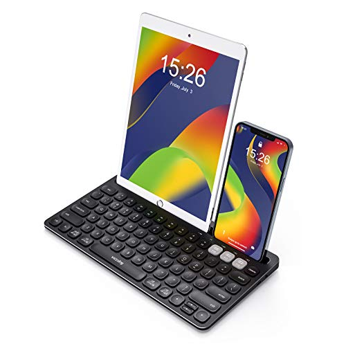 VicTsing Multi-Device Bluetooth Keyboard for iPad, Rechargeable Stainless Steel Wireless Bluetooth Keyboard, 2.4G Mini Keyboard with Phone Holder, 3 Devices Slim Wireless Keyboard for Mac/Windows