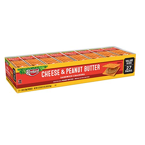 Keebler Cheese and Peanut Butter Sandwich Crackers - Convenient School Lunch Snacks, Single Serve 1.38 oz Bags (27 Count) (Best Thing At Cracker Barrel)