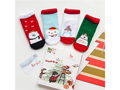 Gelaiken World Christmas 4 Pairs Children Cotton Socks Kids Autumn and Winter Christmas Terry Short Tube Socks(Multicolor) by Gelaiken