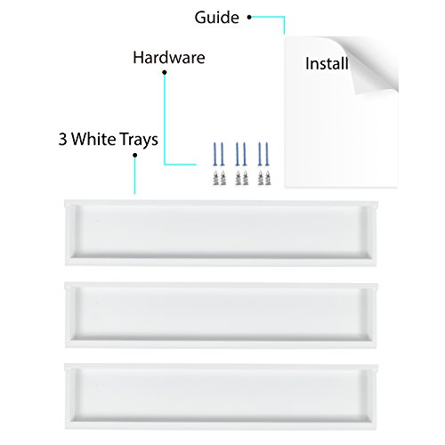 Wallniture Philly 3 Floating Shelves Trays Bookshelves and Display Bookcase - 31.6 inch Modern Wood Shelving Units for Kids Bedroom & Nurseries - White Wall Mounted Storage Shelf by Wallniture (Image #6)