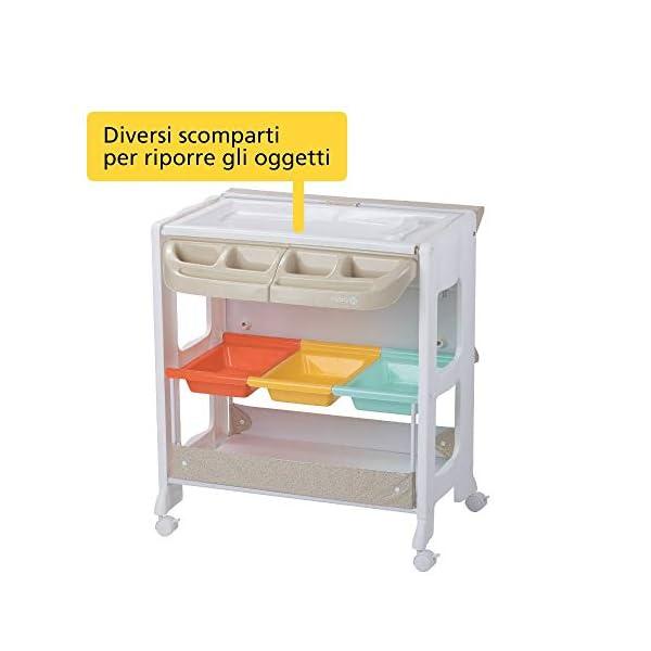 Safety 1st Dolphy Fasciatoio con vaschetta per bagnetto neonato, con materassino imbottito incluso, colore warm gray 3