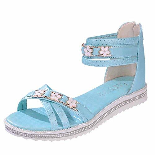 24bd588cca09e Bleu Pour D'été Loisir Plates À Chaussures Sandales Plat Fond Dames Femmes  Bout Cuir Dodumi Avec De Bleues Femme ...