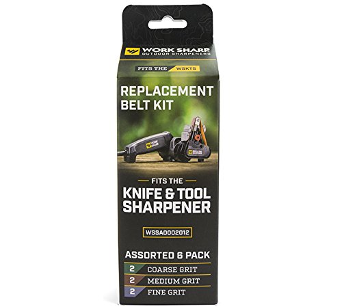 Official Work Sharp Knife & Tool Sharpener Assorted (P80, P220, 6000) Replacement Belt Kit