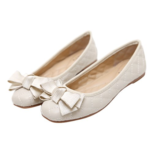 Loafer Flats Toe Shoes Dear Bowtie Time On Ballerina Slip Square Women Ballet Beige Owt6Rtqv