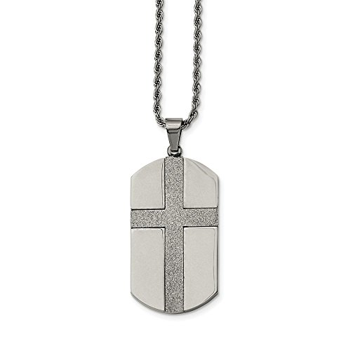 (Mia Diamonds Stainless Steel Laser Cut Cross Center Dog Tag Necklace Chain)