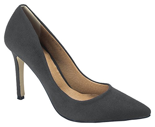 100mm Charcoal AnnaKastle Womens Office Dress Heel Pointy Stiletto Suede Toe Shoes Pumps Rqq6nTfwx