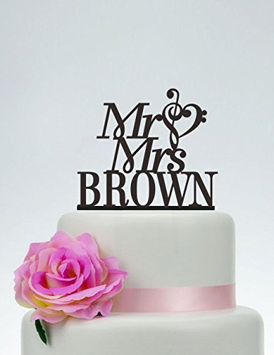 Mr and Mrs Cake Topper With Last Name,Music Note Cake Topper,Custom Cake Topper,Personalized Topper,Acrylic Cake Topper