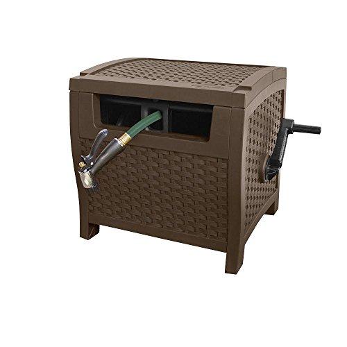 Pin Deck Roller (175' Resin Wicker Garden Hose Cart,Box Hideaway Reel, Hose Storage with Reel)