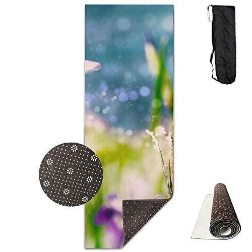 Iris Flower Wallpapers Deluxe,Yoga Mat Aerobic Exercise Pilates Anti-Slip Gymnastics Mats
