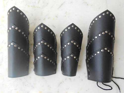 LEATHER GREEK ARMOR VAMBRACE COLLECTIBLE LEG & ARM GUARDS- CHRISTMAS GIFT ROMAN SPARTAN LEATHER ARMOR LEG & ARM GUARDS SET VAMBRACE ARCHERY BRACERS LARP