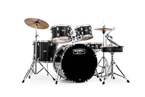 MAPEX RB5294FTCDK Rebel 5-Piece Drum Set with Hardware and Cymbals Black with 22-Inch Bass Drum (Mapex Drum Rebel Set)