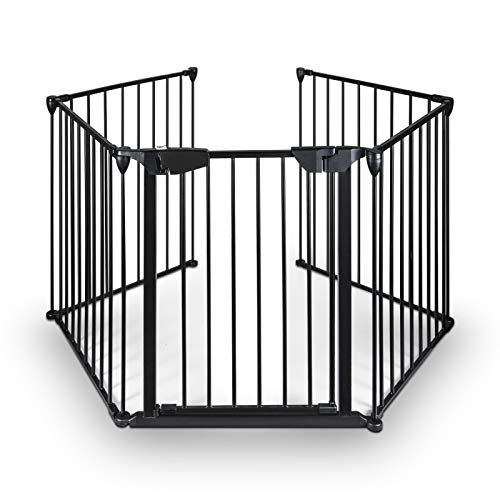 Upgraded Fireplace Safety Fence Baby Gate/Fence BBQ Pet Metal Fire Gate Baby Play Yard with Door 5 Panels Safety Gate for Pet/Toddler/Dog/Cat US Stock ()