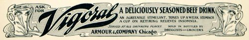 1901 Ad Armour Vigoral Beef Drink Beverage Food Art Nouveau Druggist Grocery - Original Print Ad from PeriodPaper LLC-Collectible Original Print Archive