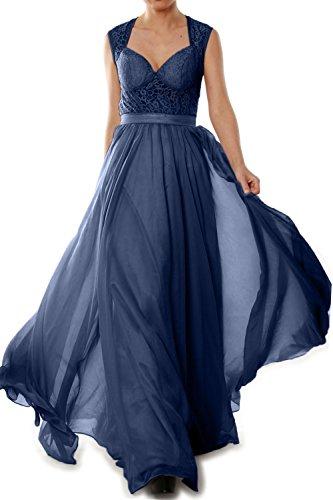MACloth Women Chiffon Lace Illusion Long Prom Formal Dress Evening Party Gown Azul Marino Oscuro