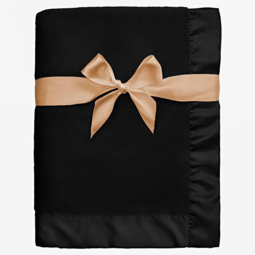 Pro Goleem Fleece Baby Blanket with 2'' Satin Trim, Anti-Static Plush Blanket for Boys and Girls, Gift for Babies, Black 30''x40''