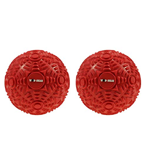 WODSKAI Massage Ball Myofascial Release Lacrosse Ball for Trigger Point Therapy, Muscle Knots, Yoga Therapeutics with 3 Kinds Bag-Free Carrying Bag (Red 8cm)