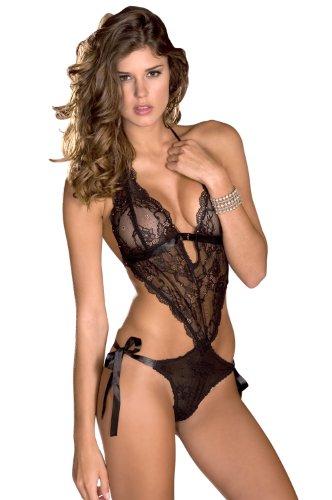 Rene Rofe Women's Lace Front Tie Back Teddy, Black, One Size (Lace Teddy Rofe Rene)