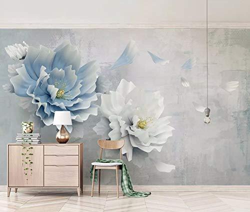 Wall Mural 3D Wallpaper Embossed White Blue Peony Flower Modern Wall Paper for Living Room Bedroom Tv Wall Decor