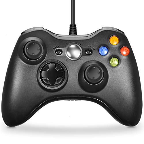 VOYEE Xbox 360 Controller - Wired Controller Gamepad Joystick Compatible with Microsoft Xbox 360 & Slim/Windows/PC (Black) (Pink Wired Xbox 360 Controller)