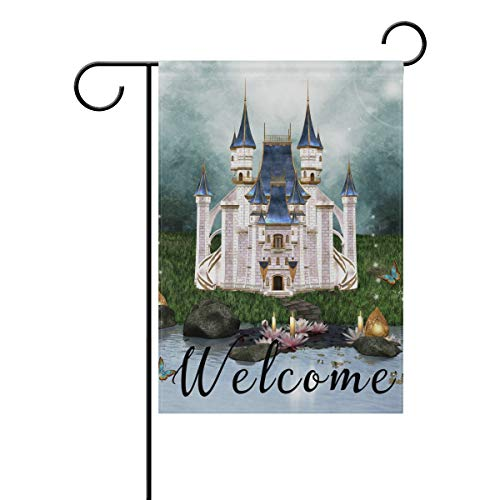 NASEN Garden Flag Enchanted Castle Modern Outdoor Decorations Home Welcome Decorative Double Sided Yard 28x40 Inches Festive -