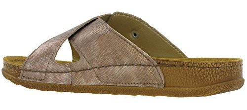 Inblu Sandals Slip On Leather Lined Cross Strap Lightweight 'UA002' Bronze bif2sMS