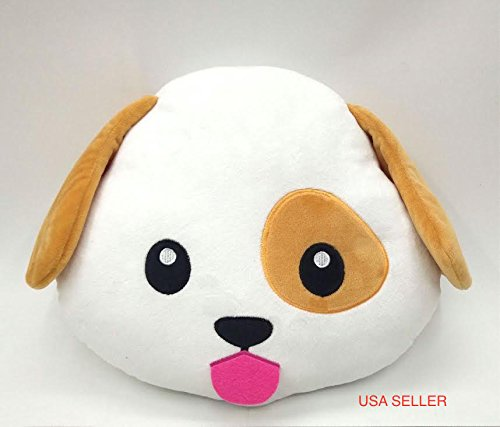 PUPPY DOG Emoji Pillow Smiley Emoticon Yellow Round Cushion Stuffed Plush Soft Toy(Poop,Pinkpoop,Monkey,Money Mouth,Cat,Heart Eye,Laugh to Tear,Smirking,Throwing Kiss,Tongue,Devil,Nerd)
