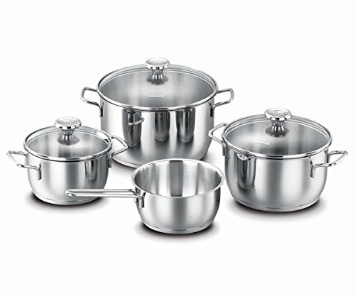 Encapsulated Base (Korkmaz Aroma 7 Piece High-End Stainless Steel Induction-Ready Cookware Set with Tri-Ply Encapsulated Base)