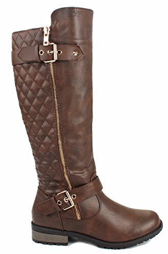 Forever Mango-21 Women's Winkle Back Shaft Side Zip Knee High Flat Riding Boots Brown - Brown Boots Womens Knee High